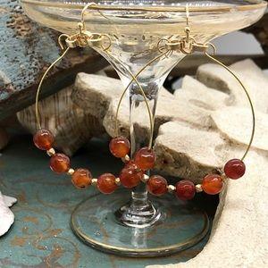 Carnelian beaded hoop earrings